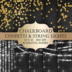Chalkboard Gold Foil Confetti & String Lights by ItGirlDigital