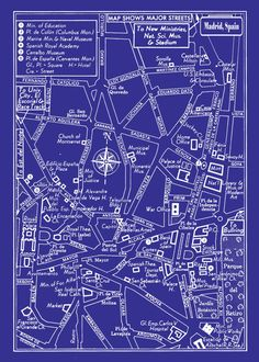 1949 Vintage Map Of Downtown Madrid, Spain 20x30 Blueprint Print Poster