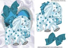 Turq elephant on frill heart with bow on Craftsuprint - Add To Basket!