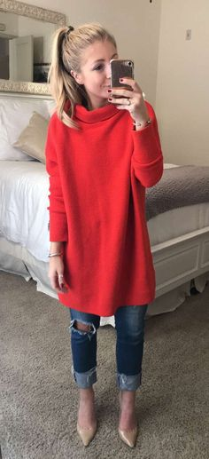 #winter #outfits women's red sweater. Click To Shop This Look.