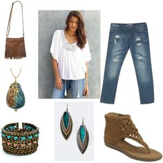 """""""Plus Size Boho Chic"""" by intcon on Polyvore(can I make the white shirt another color though please...)"""