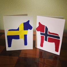 Hand Painted Swedish Norwegian Danish Flag by OlsenTrademarkCrafts