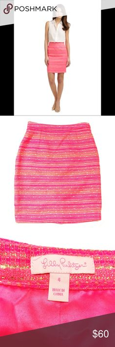 "Lilly Pulitzer Gerbera Pencil Skirt Lilly Pulitzer Gerbera Pencil Skirt in a fun, bright, pink tweed with hints of gold throughout. Great skirt to spice up your collection of pencil skirts. Made of Lilly Pulitzer's cool, pretty Lurex Boucle. Hidden side zipper and small slit in back. Excellent condition!  •Measurements•  Length: 20.5"" Waist: 27"" Lilly Pulitzer Skirts Pencil"