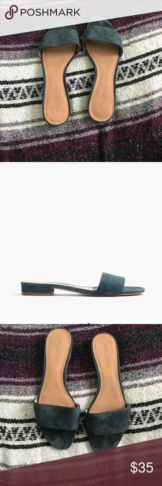 Madewell Caren Slide Sandal These are Madewell Caren Slide sandals in blue suede with a very slight heel. They are in good condition and are slightly worn Madewell Shoes Sandals