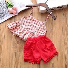 Buy Trendy Red Top And Short Set online @ Kids Dress Wear, Dresses Kids Girl, Little Girl Outfits, Kids Outfits Girls, Kids Girls, Girls Frock Design, Baby Dress Design, Baby Girl Frocks, Kids Frocks