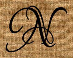 Monogram Initial Letter N Letter Clip Art by InstantPrintable Letter Decals, Letter N, Initial Letters, Monogram Initials, Graffiti Lettering, Lettering Design, Logo Design, Typography, Alphabet Tattoo Designs