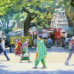 Street Scene 2 India Street Scene 2 by Dominique AmendolaIndia Street Scene 2 by Dominique Amendola Watercolor Paintings, Watercolour Drawings, Art Drawings, Watercolours, Composition Painting, Composition Design, Drawing Scenery, Figure Painting, Figure Drawing