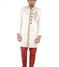 Buy Cream embroidered brocade sherwani indo-western-dress online