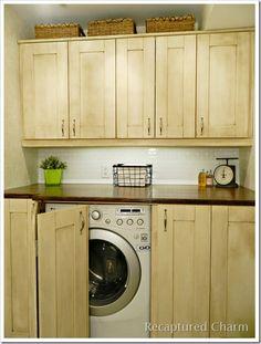 Laundry Room / Powder Room Ikea cabinets painted and glazed! www.recapturedcharm.com