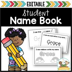Name books to help you quickly and easily create customized name practice for your entire class. Help your students learn how to recognize their names. Name Activities Preschool, Pre K Activities, Preschool Activities, Preschool Letters, Alphabet Activities, Name Practice, Writing Practice, Rainbow Writing, Pre K Pages
