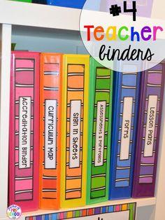 Teacher/paperwork binder hack plus 14 more classroom organization hacks to make teaching easier that every preschool, pre-k, kindergarten, and elementary teacher should know. FREE theme box labels too!