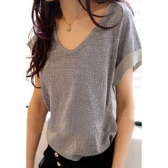 Stylish Glitter Chiffon Splicing V-Neck T-Shirt For Women
