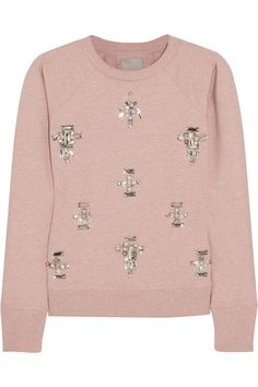 The Embellished Sweatshirt You Already Wear It: With aforementioned colored jeans, a buttoned-to-the-top shirt, and pleated or pencil skirts.