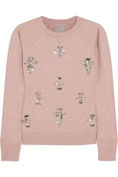 Sydney embellished stretch-cotton jersey sweatshirt