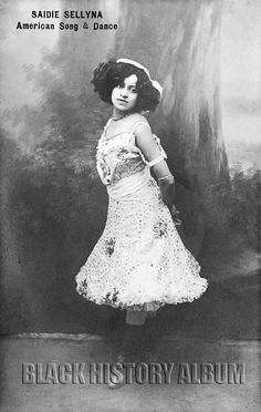 Publicity photo of African American dancer/vaudeville performer Saidie Sellyna (Thompson), circa 1911. Black and white photographic print,