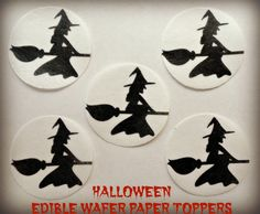 12 HALLOWEEN Witch Broom Silhouette Fly PreCut Edible Image Cupcake Cookie Cake Pop Dessert Cake Topper Wafer Paper Birthday Party Supplies