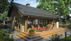 Projekt domu parterowego Ricardo XI o pow. 72,9 m2 z dachem dwuspadowym, z tarasem, sprawdź! Tiny House Cabin, Dream House Plans, Modern House Plans, Atrium, House Cladding, Small Cottage Homes, Village House Design, Compact House, Weekend House