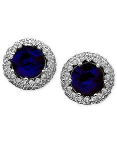 CRISLU Earrings, Platinum over Sterling Silver Blue Corundum (1-3/4) and Cubic Zirconia (1/2 ct. t.w.) Button Earrings - Fashion Earrings - Jewelry & Watches - Macy's