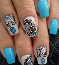 Resultado de imagen para atrapasueños en uñas Diy Nails, Cute Nails, Trendy Nails, Mandala Nails, Celebrity Nails, Nail Arts, How To Do Nails, Diy Art, You Nailed It