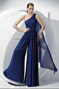 830e91782 2019 vestido Fashion Royal Blue Chiffon Jumpsuits Wedding party nmo-056  Macacão De Dama De