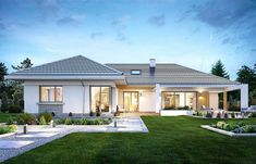 Willa parterowa on Behance Modern Bungalow House Design, Modern Bungalow Exterior, Bungalow Style House, Bungalow House Plans, Dream House Plans, Modern Roof Design, One Floor House Plans, Village House Design, Village Houses