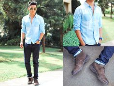 Giordano Chambray, Pedro Shoes - Light Denim - David Guison