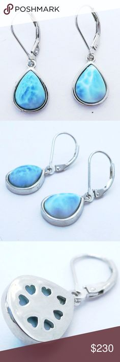 1 PAIR  BEAUTIFUL DOMINICAN  BLUE  LARIMAR  STONES DANGLE EARRINGS