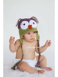 Owl Hat Little Baby Hoot Owl Newborn to 4 yr old size Perfect Photography Prop by LittleTurtleHatShop