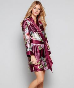 e24c0d89e0 B by Ted Baker Dark pink floral print satin  Pure Peony  dressing gown