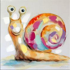 Modern Art - Cute Snail - Acrylic Painting on Canvas - 199 Euro
