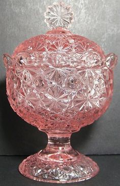 LG Wright Glass Pink Daisy & Button 6 Inch Covered Compote Candy Dish & Lid