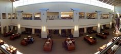 A panoramic view from third floor of the second floor study tables.