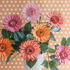 DIY Gerbera Daisies using our step by step tutorial with free printable pattern.