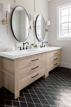 love the mirrors and the sconces in this Master Bath Reveal: Heights House Master Bath Remodel, Widespread Bathroom Faucet, Upstairs Bathrooms, Master Bathrooms, Small Bathrooms, Rico Design, Bathroom Renos, Bathroom Ideas, Bathroom Designs