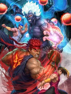 Oni Akuma and Evil Ryu (Street Fighter) by Stanley Lau Ryu Street Fighter, Capcom Street Fighter, Super Street Fighter, Street Fighter Wallpaper, Stanley Lau, Playstation, Xbox 360, Street Fighter Characters, Super Anime