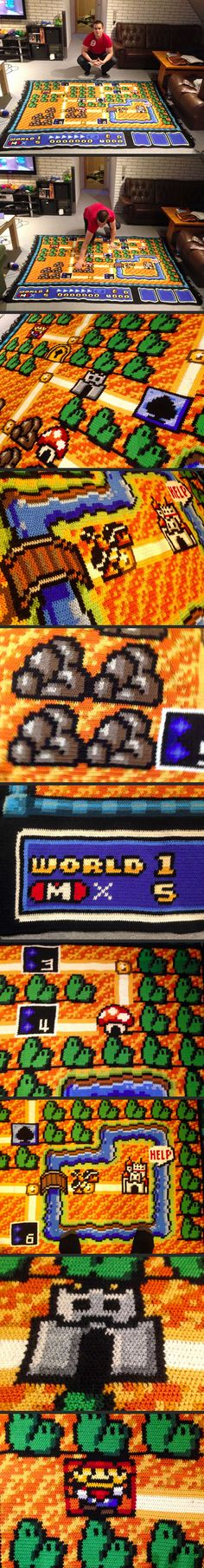 SO cool! Now, for his next project, a Zelda & Metroid blanket!!  Super Mario Bros. 3 Blanket