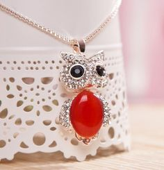 Cute Delicate Crystal Inlaid Owl Necklace