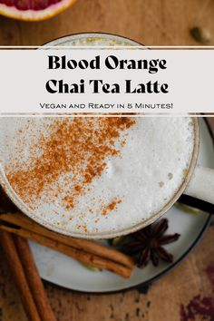 Blood Orange Chai Tea Latte - not your regular chai latte! This lightly caffeinated vegan latte is made with blood orange extract and orange blossom water. The orange flavor goes really well with the chai spices. You'll love this drink! Learn how to make it via the link! #chaispice #orangeblossom #bloodorange
