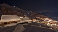 Night View to Verbier, Swiss Alps from Chalet Corniche