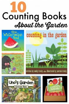Counting books that take place in the garden! 10 books for toddlers, preschoolers and young children about all things gardening and counting.