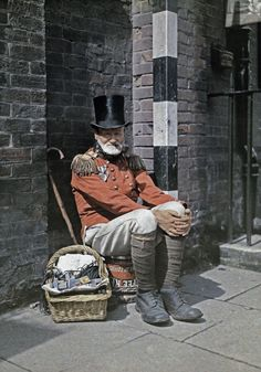 early Autochrome color photography. man in uniform