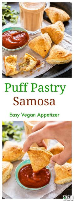 Samosa made easy using store bought puff pastry. An easy vegan appetizer for your Thanksgiving and Holiday menu! Find the recipe on www.cookwithmanali.com