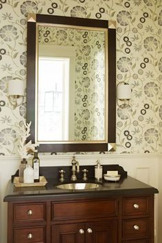Our Carbon Spring Garden Wallpaper in a powder room designed by Bonesteel Trout Hall Powder Room Wallpaper, Of Wallpaper, Spring Wallpaper, Beautiful Wallpaper, Powder Room Design, Inside Design, Home Trends, Colorful Wallpaper, Spring Garden