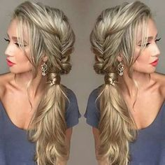 hair Bridesmaid how to - Hair bridesmaid side swept braid 28 Ideas Long Hair Wedding Styles, Wedding Hairstyles For Long Hair, Wedding Hair And Makeup, Short Hair Styles, Prom Hairstyles, Wedding Side Braids, Side Hair Styles, Hair To The Side Wedding, Brides Maid Hair Styles