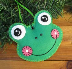 Wool Felt Frog Head Ornament Hanger In Grass by FHGoldDesigns