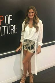 JoJo Fletcher wearing Dolce Vita Lyndon Sandals in Saddle Suede, AllSaints Avala Top in Chalk White and AllSaints Avia Fuji Shorts
