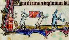 Rabbit procession, Macclesfield Psalter, England ca. 1330 (Cambridge, Fitzwilliam Museum, fol. 11r)