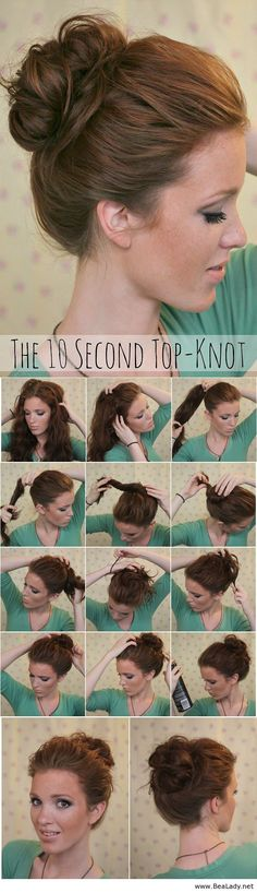 Super Easy Knotted Bun Updo and Simple Bun Hairstyle Tutorials - BeaLady.net
