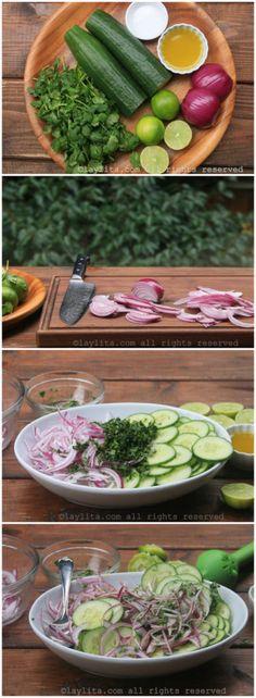 Preparación de la ensalada de pepino