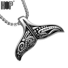 28b392aff35bea HIP Mens Whale Tail Fish Charm Necklace Punk Supernatural 316L Stainless  Steel Mermaid Necklace For Men Jewelry